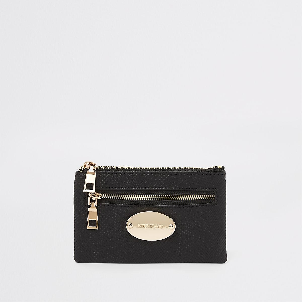 Kleine zwarte portemonnee met rand met slangenprint