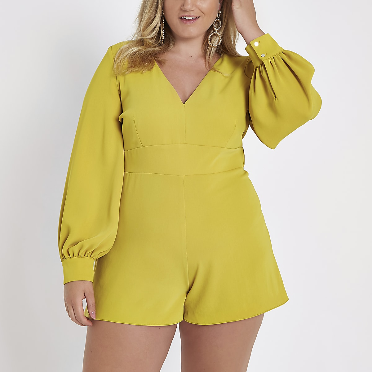 Plus dark yellow tie waist playsuit