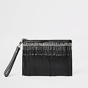 Black leather beaded fringe clutch bag