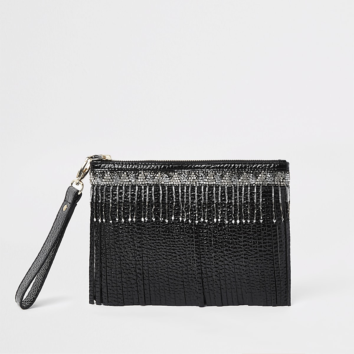 Black leather beaded fringe clutch bag