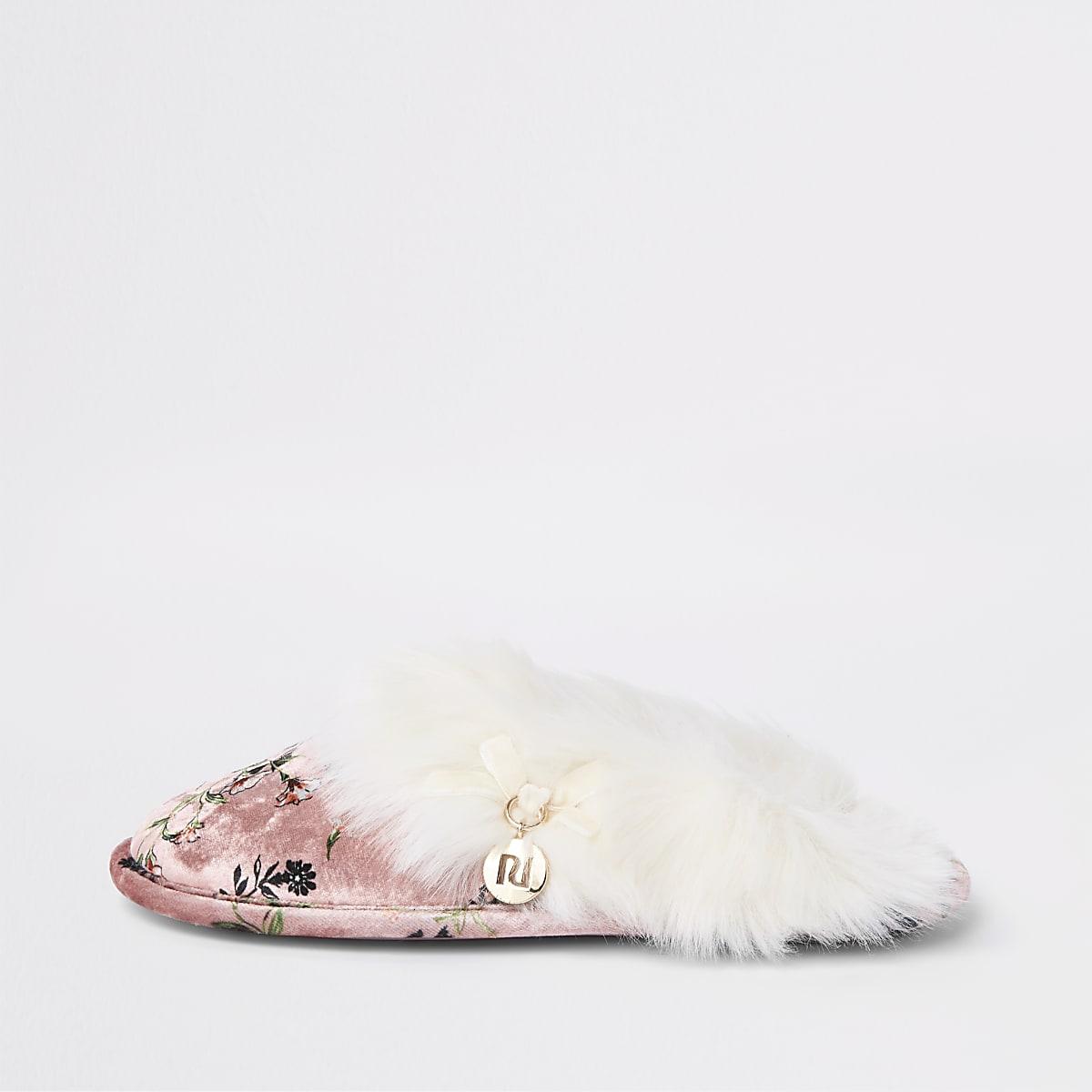 Pink floral print faux fur trim slippers