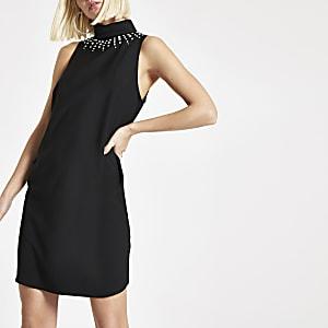Black embellished high neck swing dress