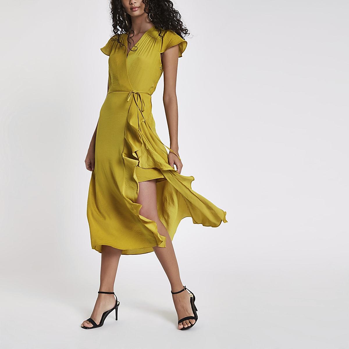e11e29b707d Robe mi-longue cache-cœur jaune à volant - Robes trapèze - Robes - Femme