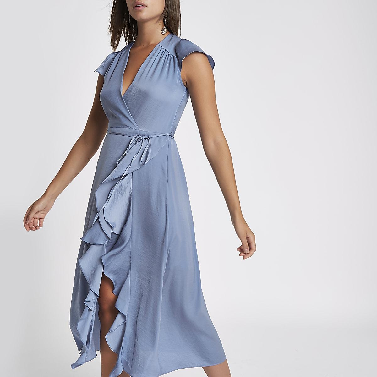 Blue frill wrap front midi dress