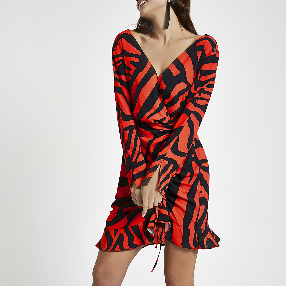 Red zebra print wrap dress