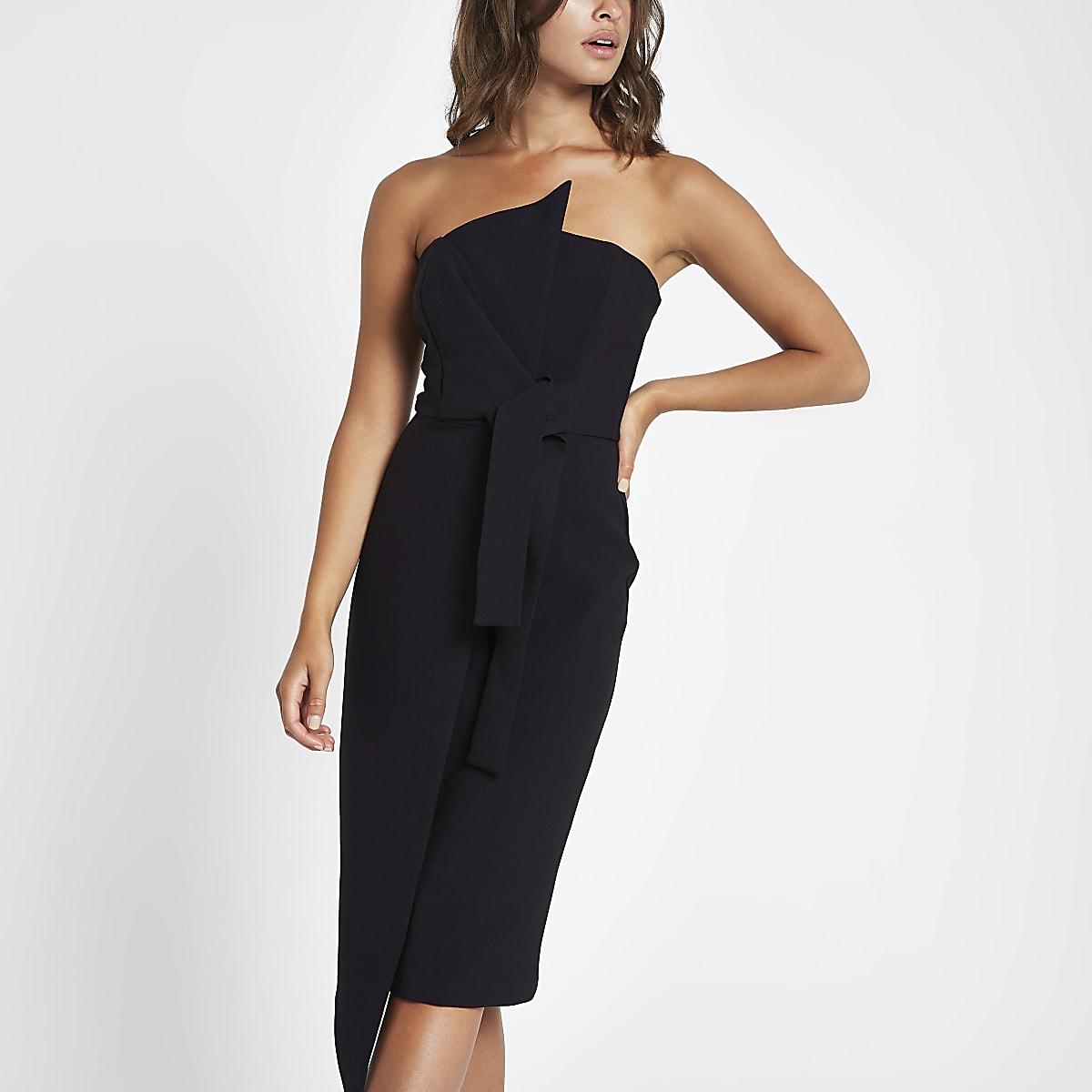 4be17e06a2 Black bandeau bodycon midi dress - Wedding Guest Dresses   Outfits ...