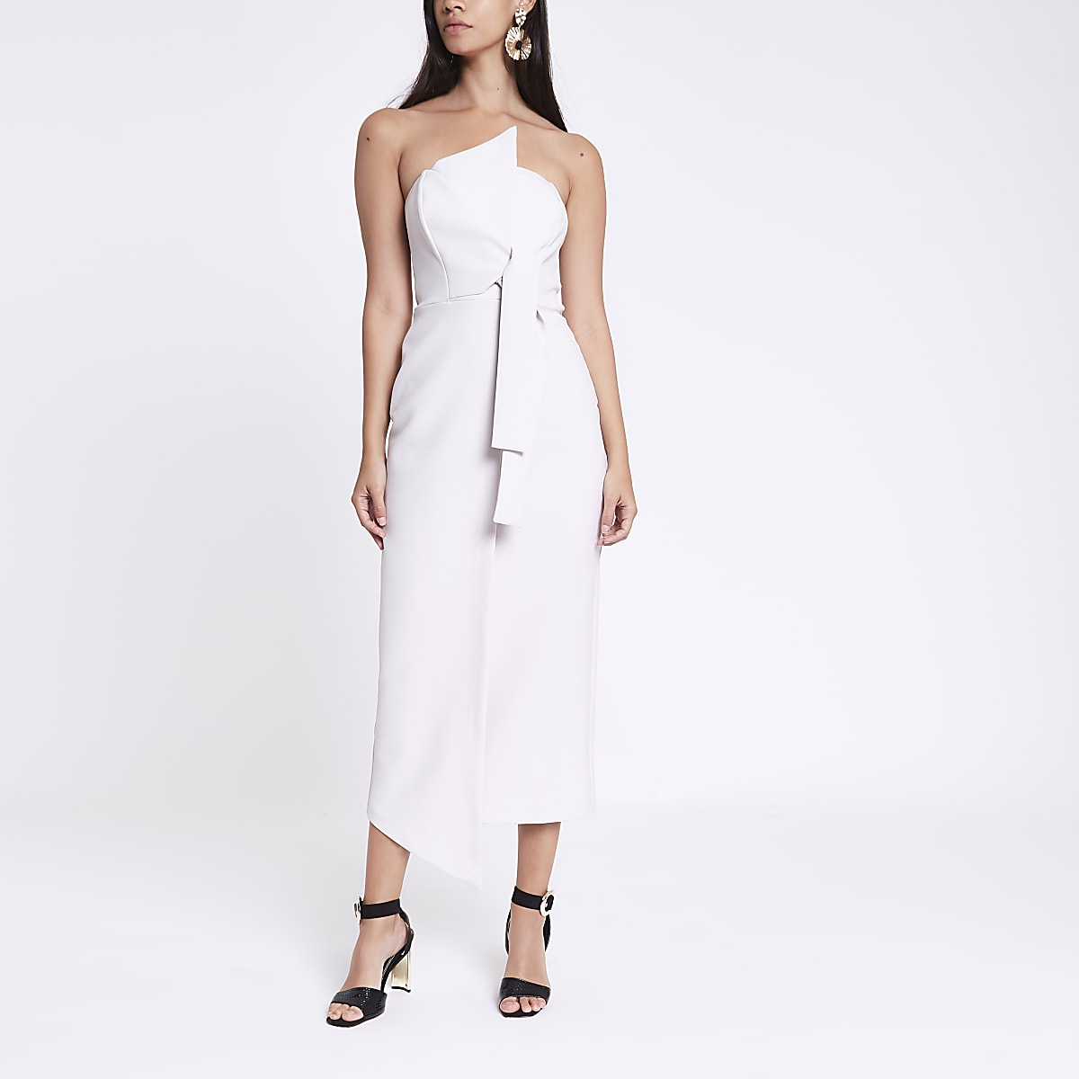 Light grey bandeau bodycon maxi dress