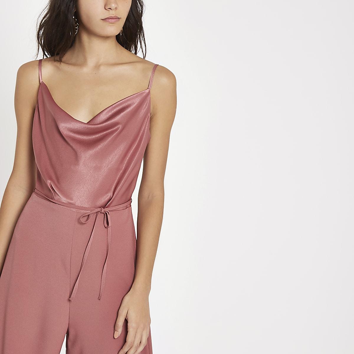 730d7d29a3c Dark pink cowl neck cami strap jumpsuit - Jumpsuits - Playsuits ...
