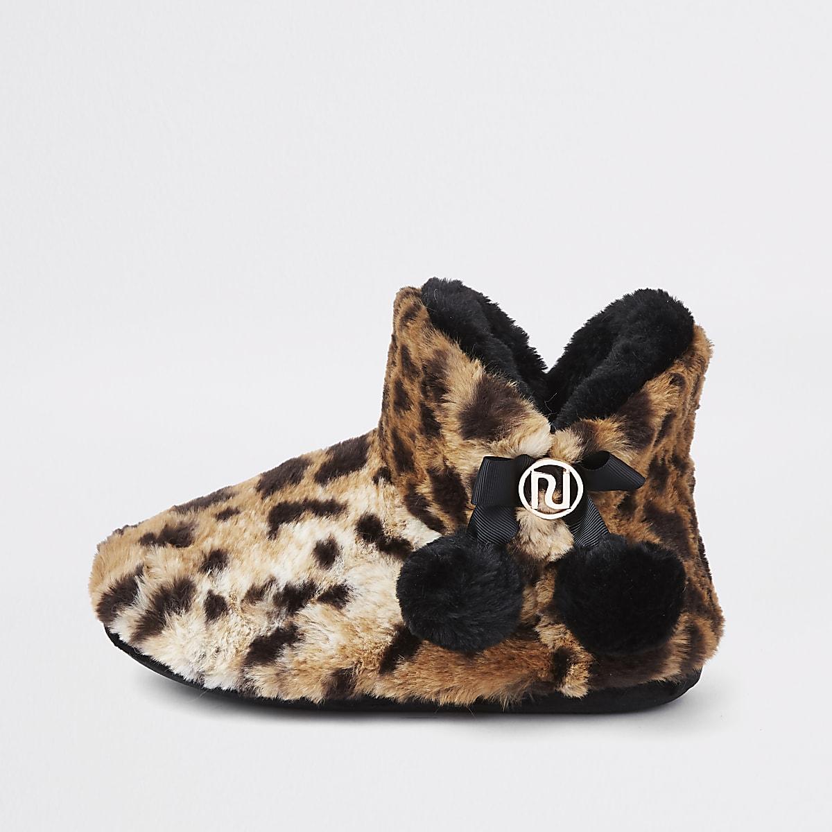 Brown leopard fluffy pom pom bootie slippers