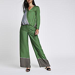 Green tile print wide leg pants