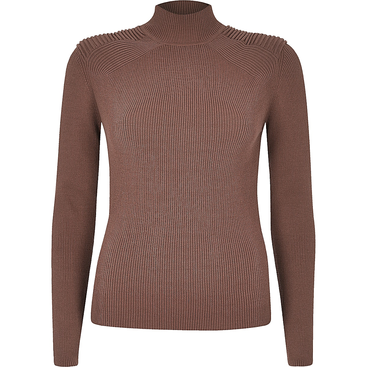 25024268bb5 Dark pink ribbed shoulder roll neck top