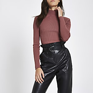 Dark pink ribbed shoulder roll neck top
