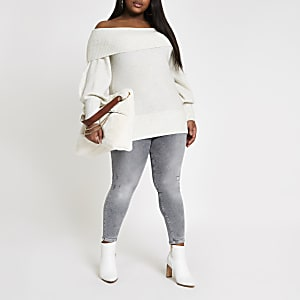 Plus grey wash mid rise Molly jeggings