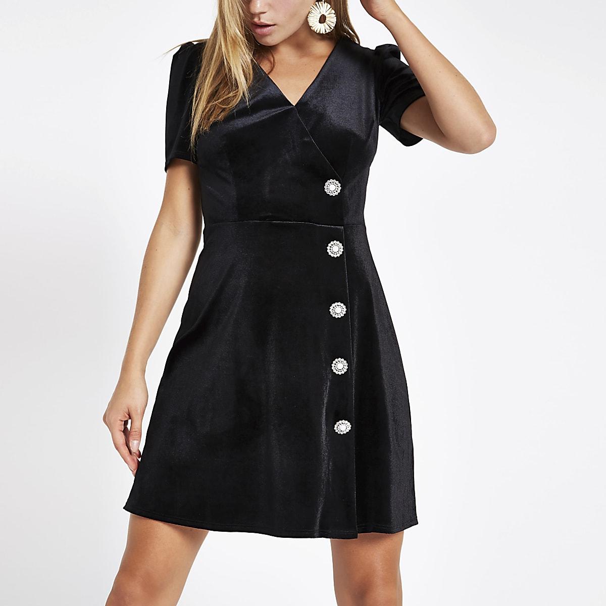 Black velvet embellished button mini dress