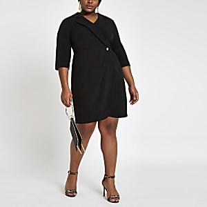 Plus black bodycon wrap tux mini dress