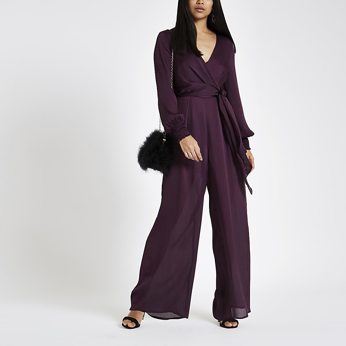 05fd8f7ae0 Petite purple wrap front wide leg jumpsuit - Jumpsuits - Playsuits ...
