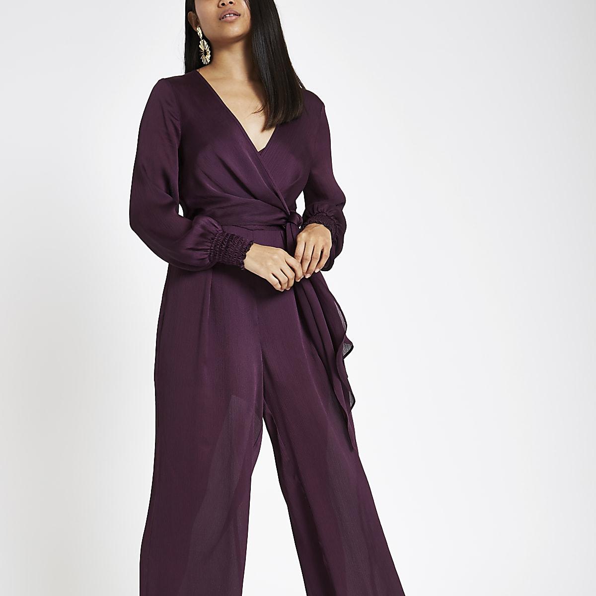 Petite purple wrap front wide leg jumpsuit