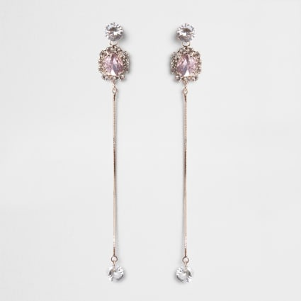 Rose gold colour diamante chain drop earrings