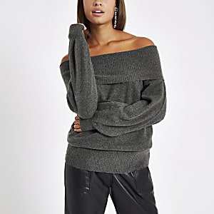 Dark grey knit bardot sweater