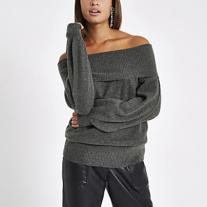 Dark grey knit bardot jumper