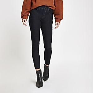 Amelie - Donkerblauwe superskinny jeans met onafgewerkte zoom