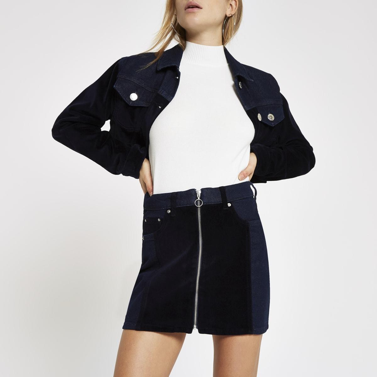 Dark blue velvet panel zip denim mini skirt