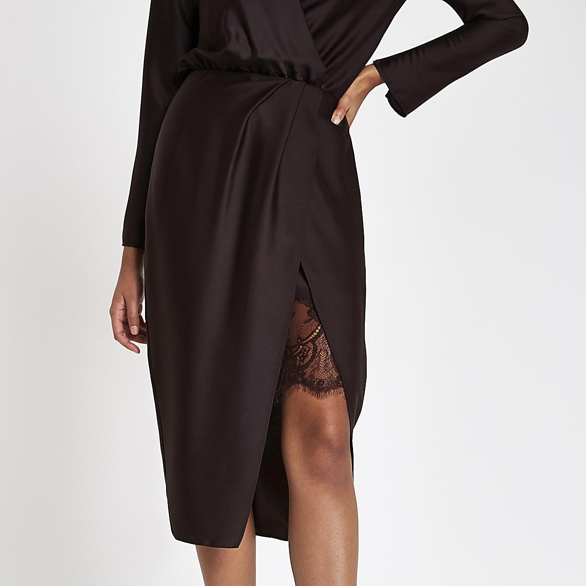 97fd0718 Burgundy wrap front waisted midi dress - Swing Dresses - Dresses - women