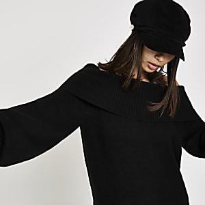 Black bardot neck knit jumper