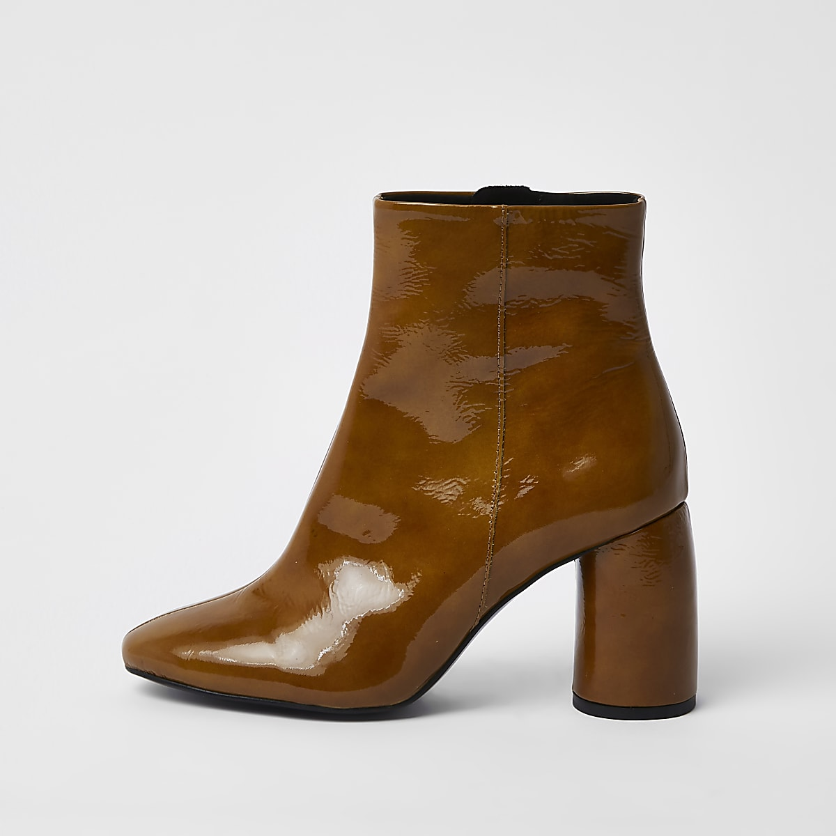 Brown shiny leather bubble heel ankle boots