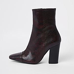 Burgundy snake embossed block heel boots
