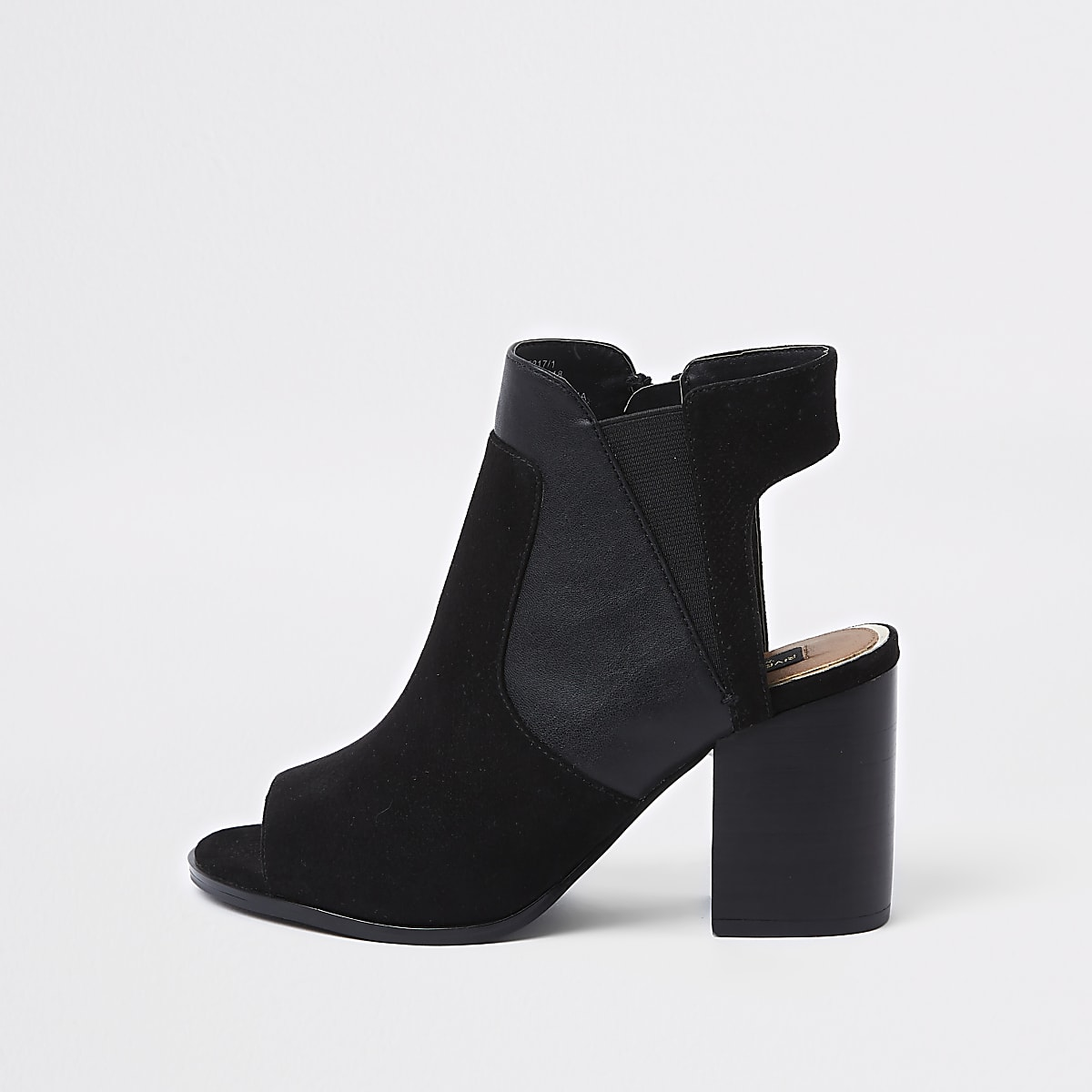 Black wide fit block heel shoe boots