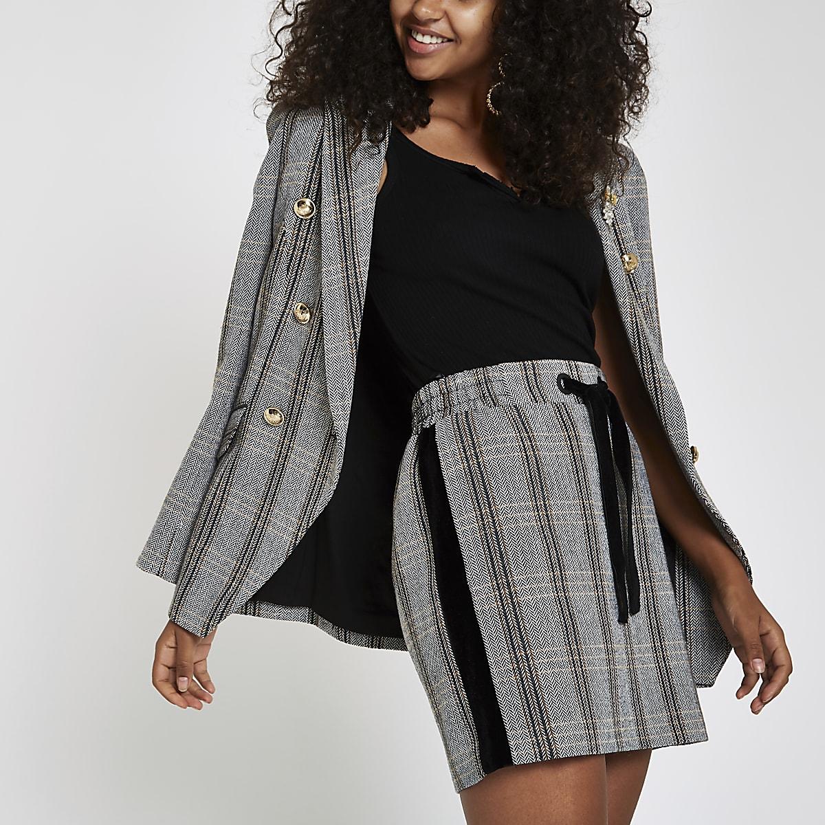 Brown check drawstring mini skirt
