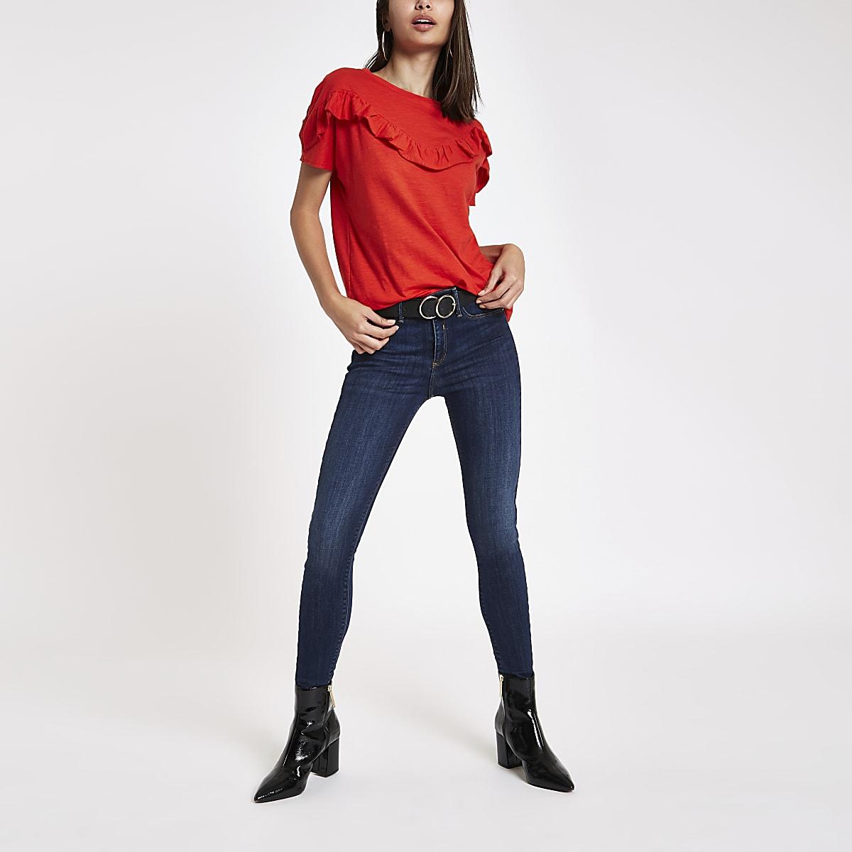 Dark red frill bib short sleeve T-shirt