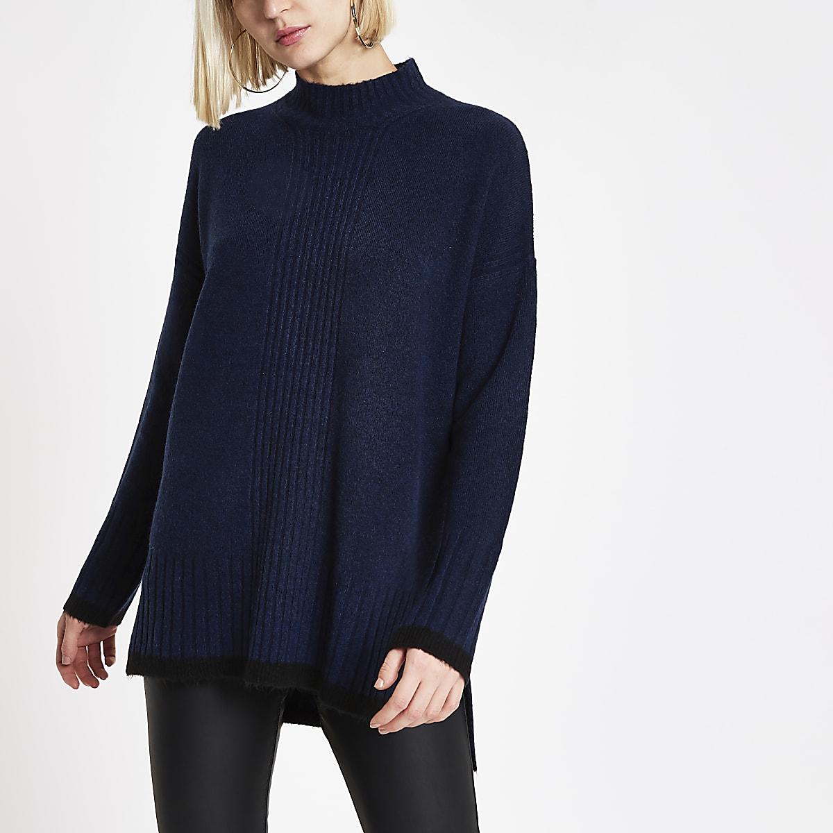 Navy knit split turtle neck sweater