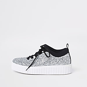 Silver glitter lace up creeper trainers