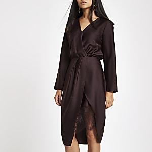 Petite dark red wrap front waisted midi dress