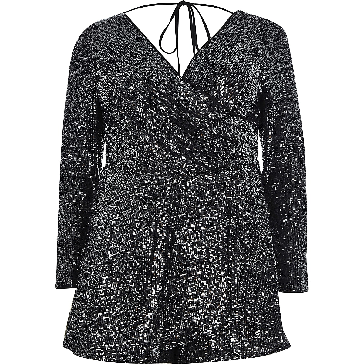 8d66be65ad Plus dark grey sequin wrap front playsuit - Playsuits - Playsuits ...