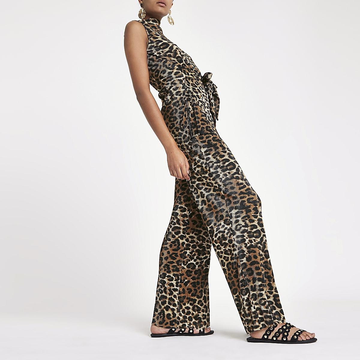 f6768ff39efb Brown leopard print pleated wide leg trousers - Wide Leg Trousers - Trousers  - women