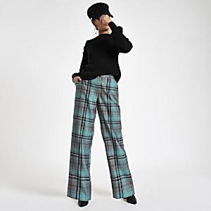 Pantalon large à carreaux turquoise
