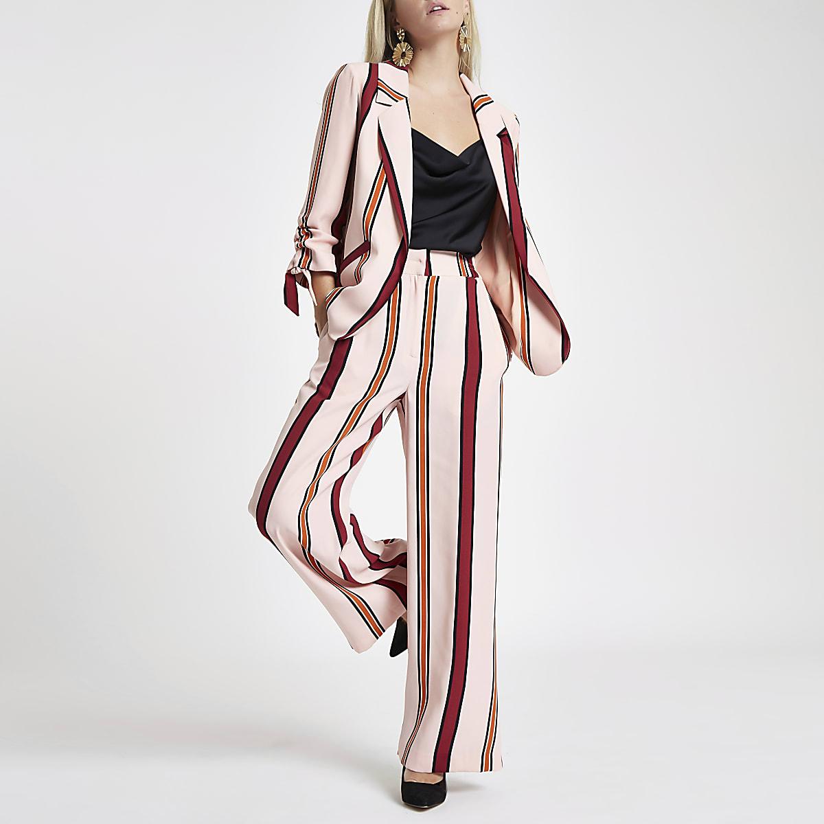 Petite pink stripe wide leg trousers