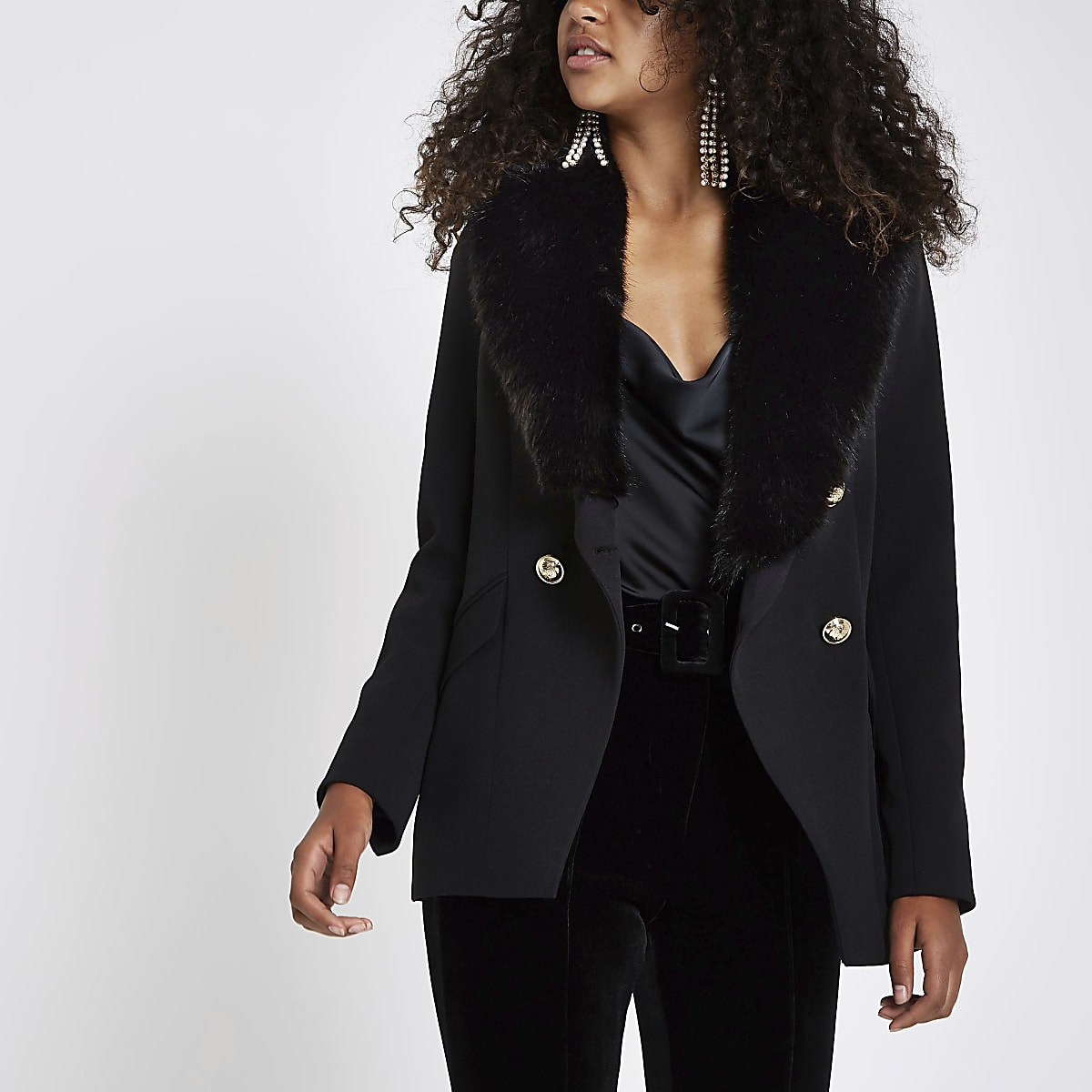 dacc9f495 Black faux fur button tux style jacket - Blazers - Coats & Jackets - women