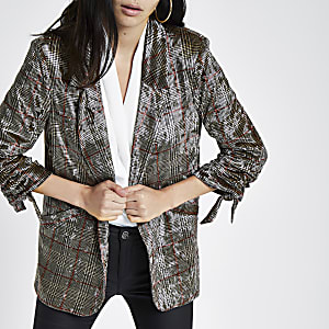 Brown velvet check ruched sleeve blazer