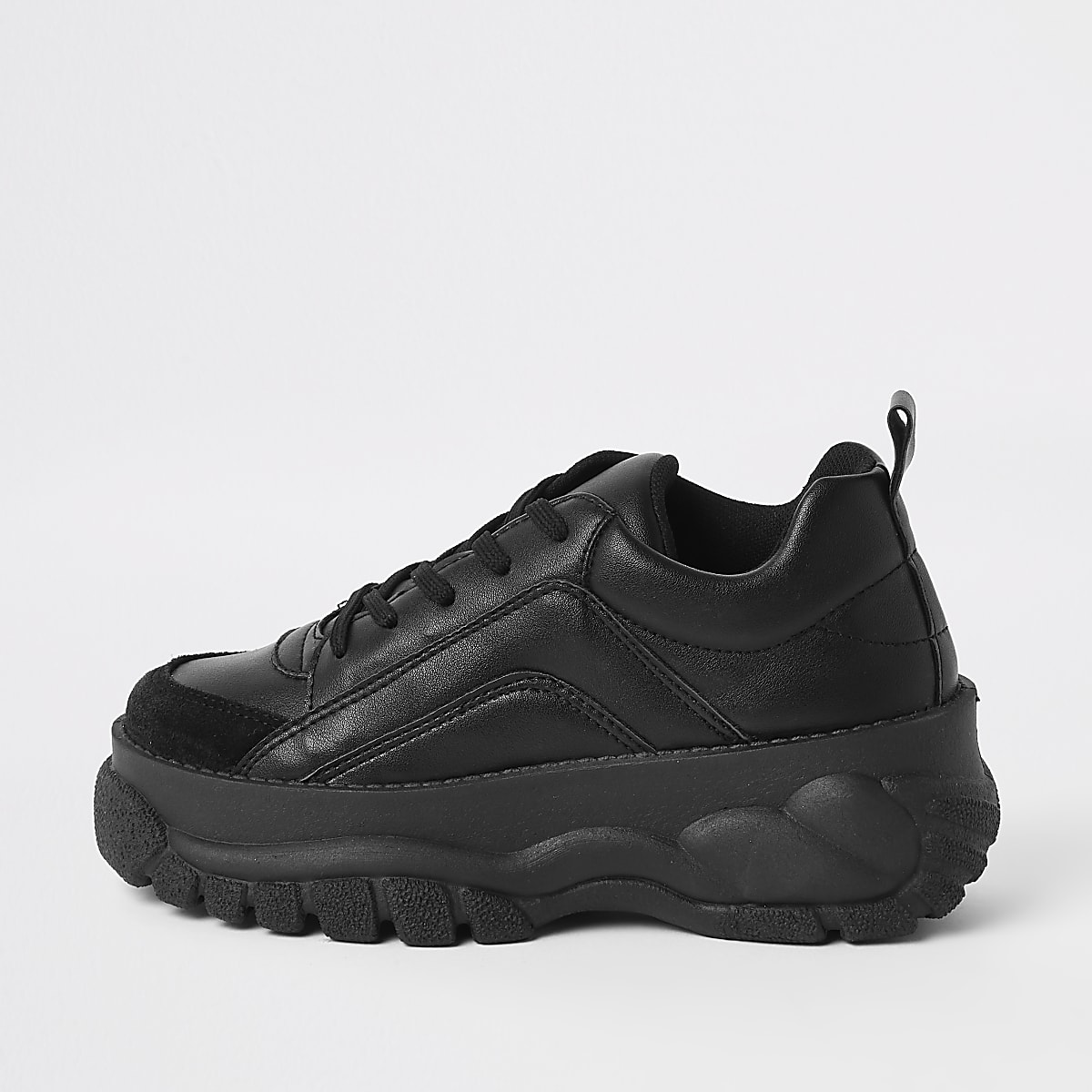 Black faux leather chunky lace up trainers