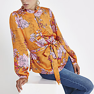 Orange floral print tie front blouse