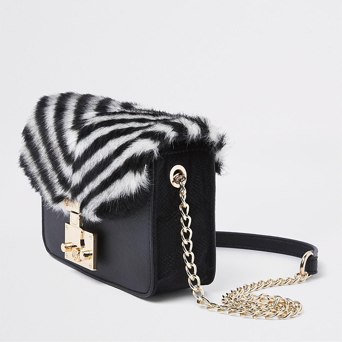 97124d96ff7 Black faux fur stripe cross body bag