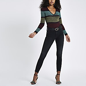 Purple knit stripe shoulder padded V neck top