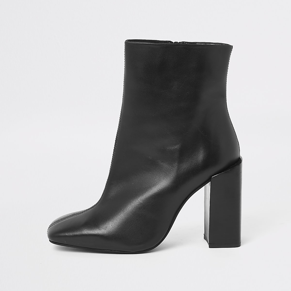 Black leather square toe block heel boots