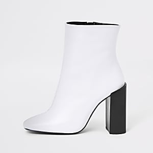 d1b4f1bee08 White leather square toe block heel boots