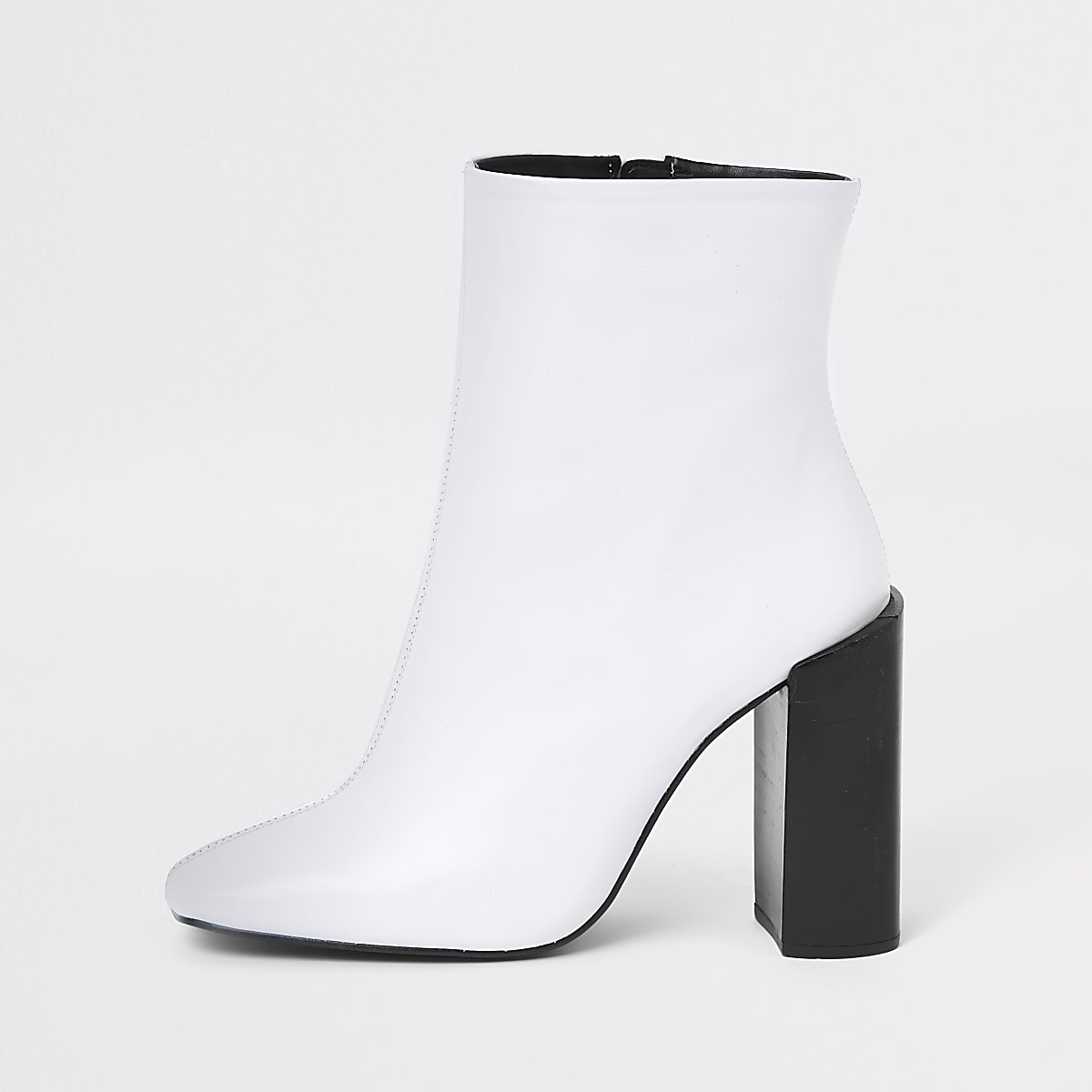 White leather square toe block heel boots