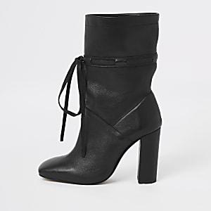 Black leather tie block heel slouch boots